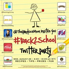 Join us Wednesday, August 26th, 2015 for a #Back2School Twitter Party. Fun & healthy lunch recipes, lunchbox ideas for your kids & prizes!