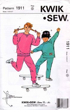 Kwik Sew 1911 Girls Tracksuit Jogging Suit Pattern Size 4 5 6 7 UNCUT Factory Folded