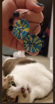 Micromacrame earrings medium pinwheel tie dye teal and chartreuse