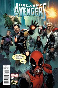 Uncanny Avengers - Deadpool variant cover by Khoi Pham. Marvel Comics, Hq Marvel, Marvel Heroes, Marvel Funny, Uncanny Avengers, Avengers Images, Avengers 1, Deadpool, Comic Book Characters