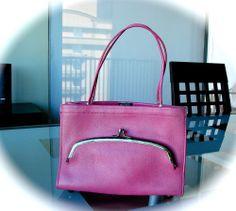 VTG Bonnie Cashin for COACH Leather Bag PINK Kiss Lock Mexican Stripe Rare