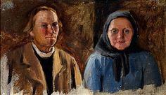Anna Sahlsten (1859-1931) Talonpoikaispariskunta / Peasant couple - Finland