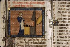 Nature at the forge, ms bodl Medieval Crafts, Medieval Books, Medieval Manuscript, Medieval Market, Book Of Hours, Historical Images, 14th Century, Book Of Life, Cartography
