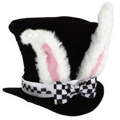 Top Hat Black with Rabbit Ears Alice in Wonderland or Easter Costume Theme Party