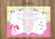 SALE Puppy Party Invite Puppy Invitation by SimplyCreateDesigns, $8.00