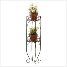 Two Tier Plant Stand Curling Metal Indoor Outdoor Basket Stylish Decoration