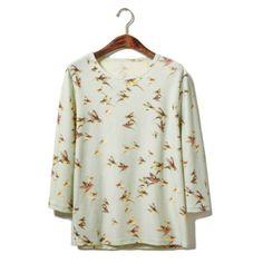 Wholesale Retro Style Round Neck Full Bird Print 3/4 Sleeves Cotton Men's T-Shirt (LIGHT GREEN,XL), T-shirts - Rosewholesale.com