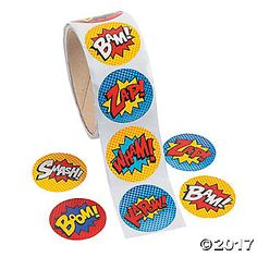 Wham! Kapow! Smash! Boom! Bam and Zap your way to superhero status with these stickers. Throwing a superhero birthday party? Decorations can include these fun ...