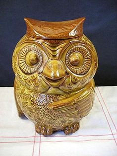 Vintage McCoy Pottery Owl Cookie Jar. look what I found today.....Hahaha..Your cookie jar.