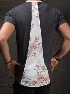 K&B Men Front Zip Deep Neck T-shirt - Dark Gray