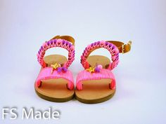 Girls sandals pink with acrylic pearls macrame braid and by FsMade