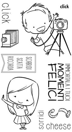Clear stamps to be attached to an acrylic block without any glue. You can use them as any other rubber stamp, but you see through them when you print and get a much higher precision. Children's Book Characters, Couple Sketch, Little Presents, Penny Black, Tampons, Digi Stamps, Cute Images, Coloring Pages, Coloring Books