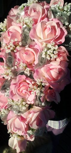 Cascading Real touch Pink Rose Bouquet Pink by SilkFlowersByJean, $250.00
