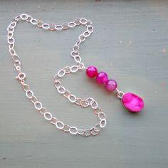 Pink Necklace Sterling Silver Jewelry Druzy by jewelrybycarmal, $75.00