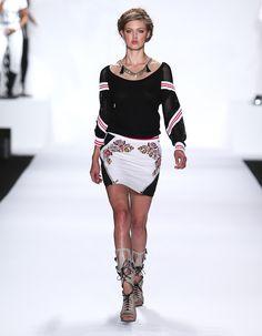 Rebecca Minkoff Look 1: Raglan Sleeve Mesh Pullover in Black Leather Malbec Skirt in Chalk
