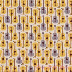 Heather Ross Far Far Away III Guitars Gold & Grey