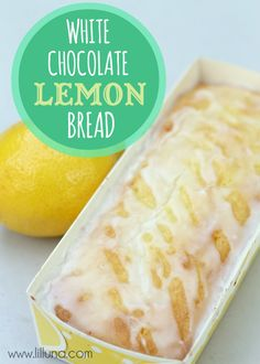 Out of this world White Chocolate Lemon Bread Recipe super easy REALLY delicious-gone in minutes~ 1 box lemon cake mix 2 small boxes white chocolate instant pudding 4 eggs cup fresh lemon juice cup oil 1 cup sour cream zest of one lemon Lemon Desserts, Lemon Recipes, Just Desserts, Bread Recipes, Sweet Recipes, Dessert Recipes, Cooking Recipes, Dessert Healthy, Drink Recipes