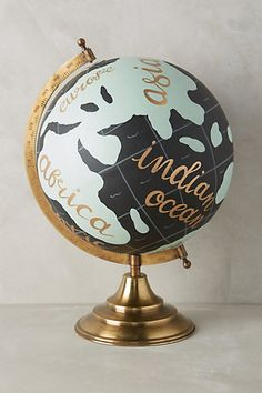 hand painted globe by 1 canoe 2 Painted Globe, Hand Painted, Another Word For Beautiful, Globe Ornament, Glass Ornaments, Map Globe, Decoration Design, My Dream Home, Home Accessories