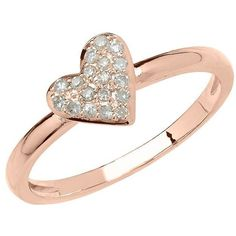 Lord & Taylor 14Kt Rose Gold and Diamond Heart Ring ($260) ❤ liked on Polyvore featuring jewelry, rings, rose gold, diamond fine jewelry, diamond jewelry set, heart shaped diamond ring, enhancer ring and diamond rings