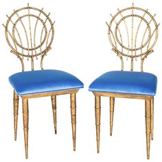1960s Pair of Petite Chinoiserie Gold Gilt Bamboo Style Chairs