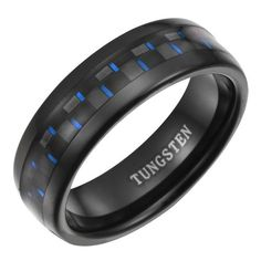 Mens 7mm Black Tungsten Ring With Blue Carbon
