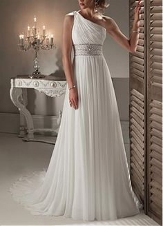 Elegant Exquisite Chiffon Sheath One Shoulder Neckline Wedding Dress