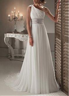 Elegant Exquisite Chiffon Sheath One Shoulder Neckline Wedding Dress