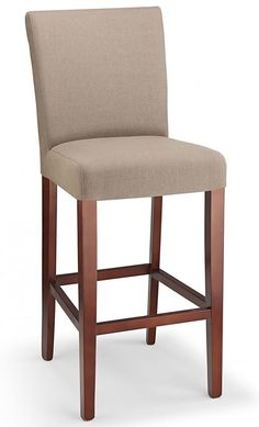 Pramit beige fabric seat kitchen breakfast bar stool wooden frame fully assembled