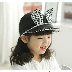 Lovely rabbit ear visors for kids polka dot sun hat summer wear