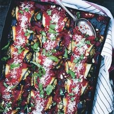 Vegetarian recipe for Baked Aubergine Rolls by Green Kitchen Stories and other Italian recipes from Red Online Dinner Party Recipes Main, Dinner Party Main Course, Dinner Party Menu, Dinner Parties, Dinner Table, Party Entrees, Food For A Crowd, Vegetarian Recipes, Savoury Recipes