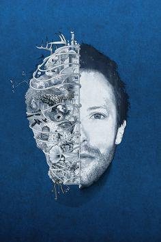 Chris Martin of Coldplay artwork Coldplay Tattoo, Coldplay Albums, Coldplay Live, Coldplay Concert, Coldplay Lyrics, Coldplay Poster, Indie Pop, Coldplay Wallpaper, Coldplay Ghost Stories