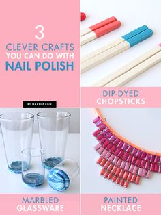 3 Clever Crafts You Can Do With Nail Polish is part of Fun crafts With Nail Polish - Obsessed with nail polish like us Try these awesome nail polish crafts today Diy Arts And Crafts, Creative Crafts, Crafts To Make, Fun Crafts, Diy Projects To Try, Craft Projects, Nail Polish Crafts, Nail Art, Crafty Craft