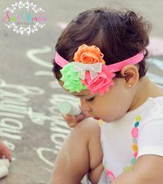 Baby Headband Neon Shabby Headband Baby Girl by smallwonders00, $9.95