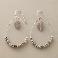 """SILVERY SPARKS EARRINGS--Threaded onto handmade sterling silver hoop earrings, faceted pyrites with silvery highlights underscore dangling labradorites. French wires. Exclusive. USA. 1-3/4""""L."""