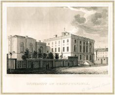Antique Philadelphia Print - University of Pennsylvania at The President's House - 1802-1829 - Federal Period America