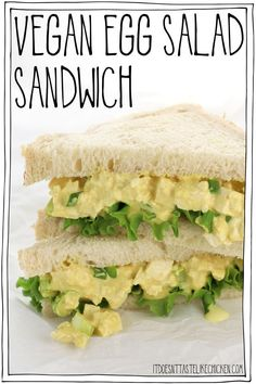 This vegan egg salad sandwich takes only 10 minutes to make and it tastes just like eggs! Perfect for a quick lunch. Make this salad ahead of time for meal prep. dinner recipes top 10 most popular Vegan Egg Salad Sandwich Vegan Sandwich Recipes, Egg Recipes, Lunch Recipes, Whole Food Recipes, Vegetarian Recipes, Healthy Recipes, Vegan Egg Salad Recipe, Vegan Chicken Salad, Salad Recipes
