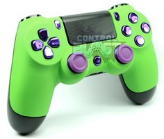 Hulk Style Custom Dualshock 4 Controller from ControlBlast.co.uk with Soft Green Front and Chrome Purple Buttons  #PS4 #playstation4 #playstation 4 #dualshock4 #dualshock 4 #custom #controller #customcontroller #customcontrollers #controlblast #ps4controller #modded #moddedcontroller #superhero #marvel #comics