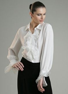 White Ruffle Blouse with Black Skirt