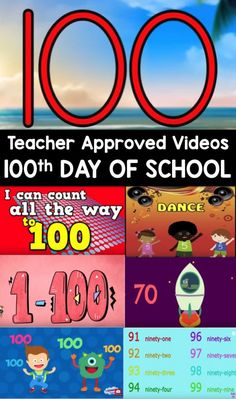 Day Videos Day Of School Video List For Kids This Teacher Approved List Is All About The Number 100 Perfect For Preschool Kindergarten And First Grades 100 Days Of School, School Holidays, School Stuff, 100s Day, Counting To 100, 100 Day Celebration, Hundred Days, School Videos, Teaching Kindergarten