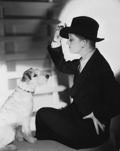 Myrna Loy  Wire haired Fox Terrier Skippy - he played the part of Asta with her in The Thin Man an American Comedy filmed in 1934