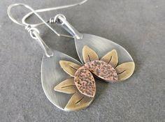 Sale-Rustic Boho Dangle OOAK Sterling Silver-Sun Flower Artisan Earrings. by JewlieBeads on Etsy
