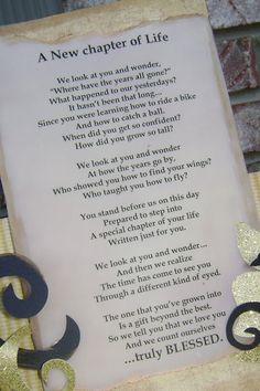 A touching poem for the graduate (although I'd probably fix a couple typos).  ;)