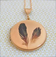 Feathers on a Vintage Locket Necklace 16K Gold Plated by verabel