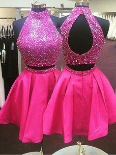 short prom dress,hot pink prom dress,beaded prom dress,two pieces prom dress,junior party dress,homecoming dress,BD2627