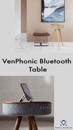 Form and function meet in style with this music speaker table: Charging: Wireless cellphone charger 2 USB charging port ( Input: Bluetooth Aux-In Sound: Output – 6 Speakers Total