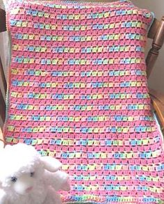[Free Pattern] Super Easy, And So Precious Block-Stitch Baby Blanket