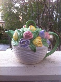 Mary Ann Baker Floral Tea Pot  Spring Flowers with by BETOSVINTAGE, $25.90