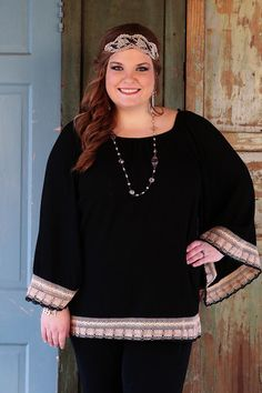 Flare Arm With Crochet Trim Tunic Top-Wear Us Out Boutique Conroe/Montgomery Texas The beautiful crochet/lace trim, in rich beige tones gives this beauty added pizzazz to dress up any outfit!