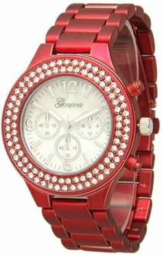 """456 Women's Geneva Red Boyfriend Style Watch w/ Rhinestones Exquisite Collections. $10.99. Round face. Clasp. Metal watch. Dial 1.5"""" wide. Quartz movement with analogue-display. Save 42% Off!"""