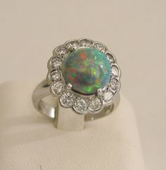 White Gold Opal and Diamond Cluster by Ross Humphries